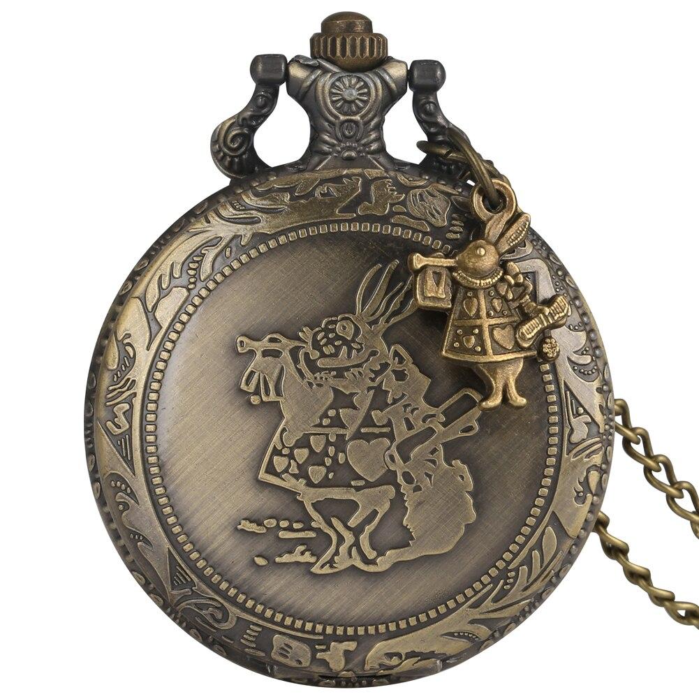 Zakhorloge Rabit Pocket Watch For Women Unique Rabbit Pattern Clock Men Chic Alloy Slim Chain Necklace Pendant Male Zak Horloge