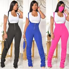 Echoine Bodycon Zipper Ruched Pleated  stacked pants with Suspender Jumpsuit  Outfits  plus size Streetwear