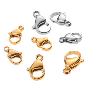 20pcs/lot Lobster Clasps Stainless Steel Jewelry Finding Clasp Hooks for Diy Necklace & Bracelet Chain Making 9/10/12/15MM