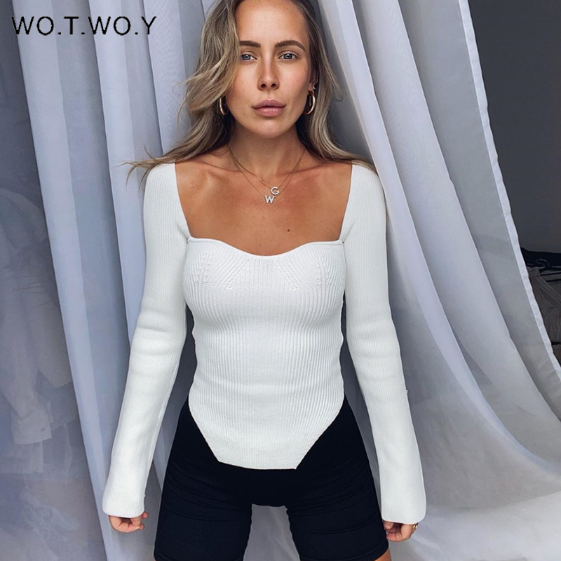 WOTWOY Low Cut V Neck Cropped Sexy Sweaters Women Bottoming Slim Fit Knitted Pullovers Women 2020 Solid Knitwear Female Jumper Pullovers  - AliExpress