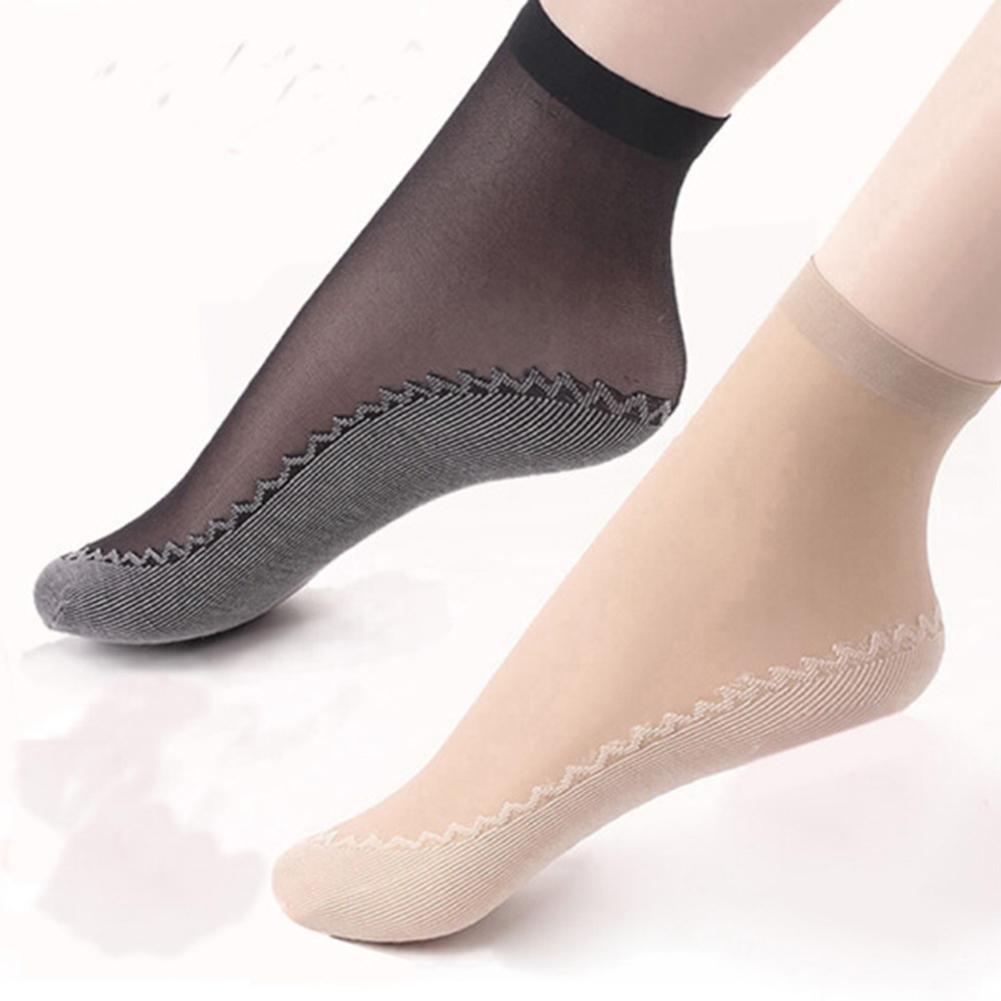 High Elastic Bamboo Female Short Socks Thin Crystal Transparent Silk Socks Girl Ankle Sox Anti-slip Ankle Socks