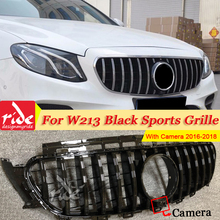 W213 Sports Front Grill Grille With Camera ABS Black E Class E200 E250 E300 E350 GT R Style Without Sign 2016-2018
