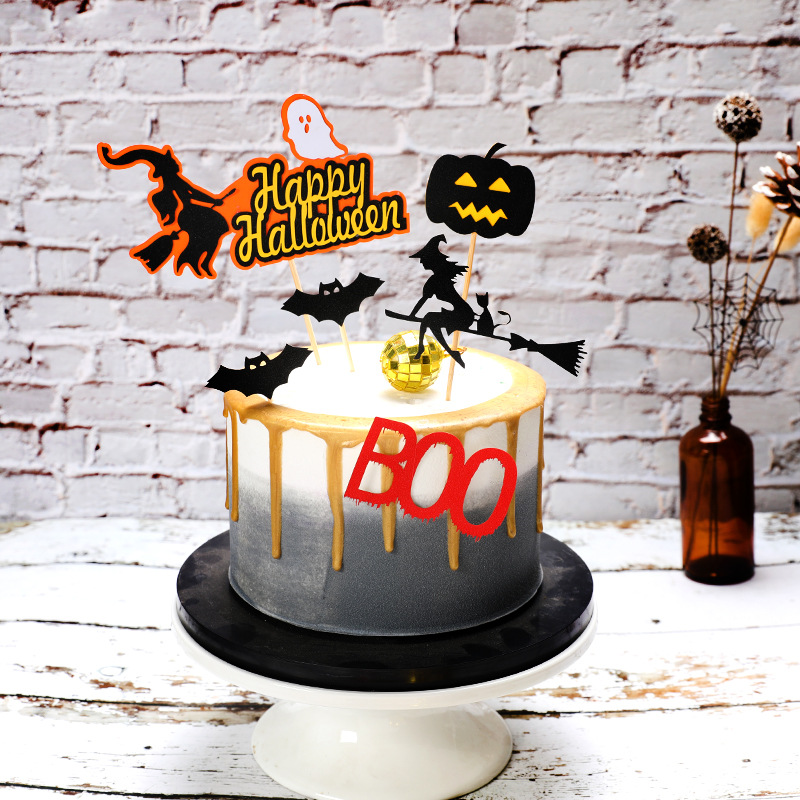 Image 5 - Halloween Cake Decoration Card Black Castle Batman Flag Pumpkin Witch Cake Dessert Topper Decoration Birthday Party Supplies-in Cake Decorating Supplies from Home & Garden