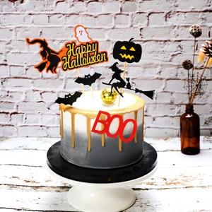 Image 5 - Halloween narzędzie do dekoracji ciast karta czarny zamek Batman flaga dyniowa wiedźma deser ciasto dekoracja na wierzch materiały urodzinowe
