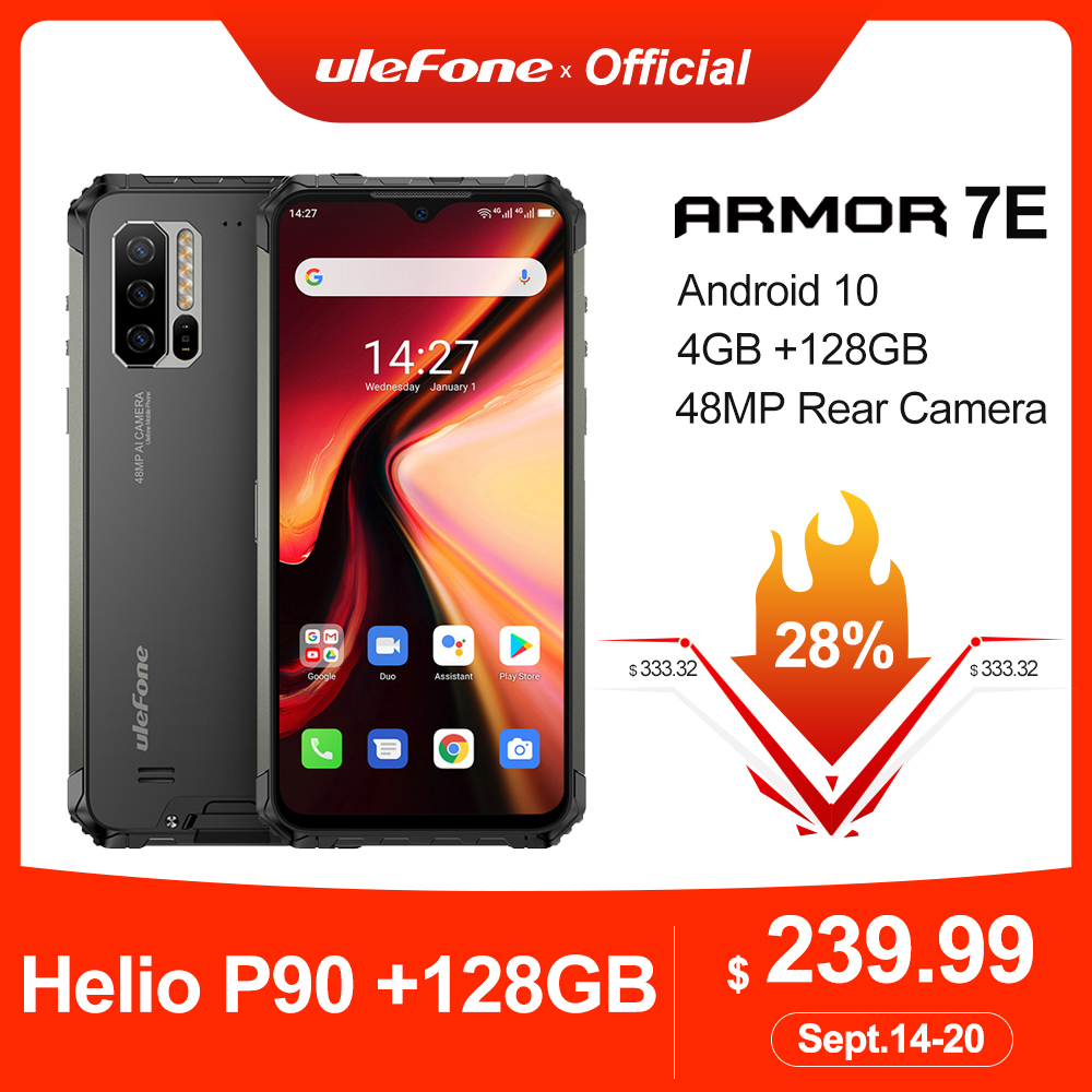 Ulefone Armor 7E Rugged Mobile Phone Helio P90+128G Smartphone 2.4G/5G WiFi Waterproof IP68 Global Version Android 10 NFC/48MP(China)