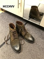 Luxury Italian Leather Shoes Genuine Leather Vintage Men boots New Fashion Lace Up Brown Black Wedding Business Formal Shoes Men