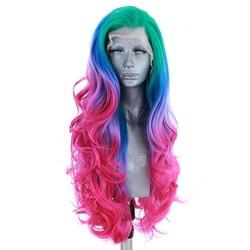 Imstyle verde azul rosa púrpura peluca Ombre colorido sintético peluca con malla frontal Multicolor fibra resistente al calor pelucas largas para las mujeres