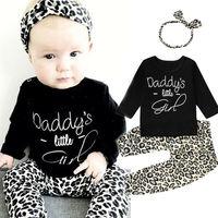 Комплект из 3 предметов для новорожденных, одежда с леопардовым принтом для маленьких девочек черные топы с длинными рукавами + штаны + повяз...