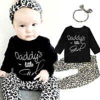 Комплект из 3 предметов для новорожденных; одежда с леопардовым принтом для маленьких девочек; черный топ с длинными рукавами + штаны + повяз...