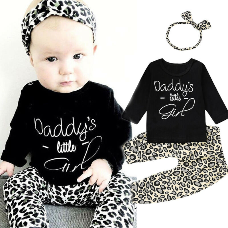 3pcs Newborn Infant Baby Set Toddler Girl Leopard print Clothes Black Long Sleeve Tops + Pants + Headband Outfits Baby Clothing