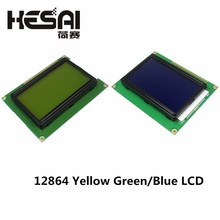 12864 128x64 Dots Graphic Yellow Green/Blue Color with Backlight LCD Display Module ST7920 Parallel Port for arduino Diy Kit