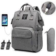 Bolsa de fraldas de bebê com grande capacidade para a mãe, a prova dágua, USB, mochila para a mamãe, grávida