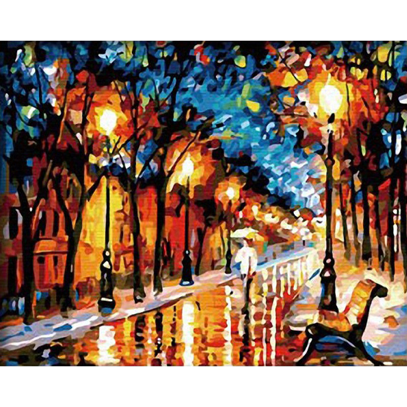 GATYZTORY DIY Painting By Numbers Street View Landscape Oil Painting HandPainted Kits Canvas Drawing Home Decor