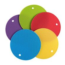 Сверхтолстая силиконовая матовая подставка круглые сотовые термостойкие подставки нескользящий Силиконовый изоляционный коврик подложка под столовые приборы для домашнего использования