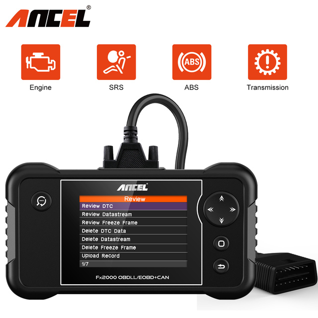 Ancel FX2000 OBD2 Diagnostic Scanner Read Code Car Tools Engine ABS Airbag System OBDII EOBD Print Data  Lifetime Free Update