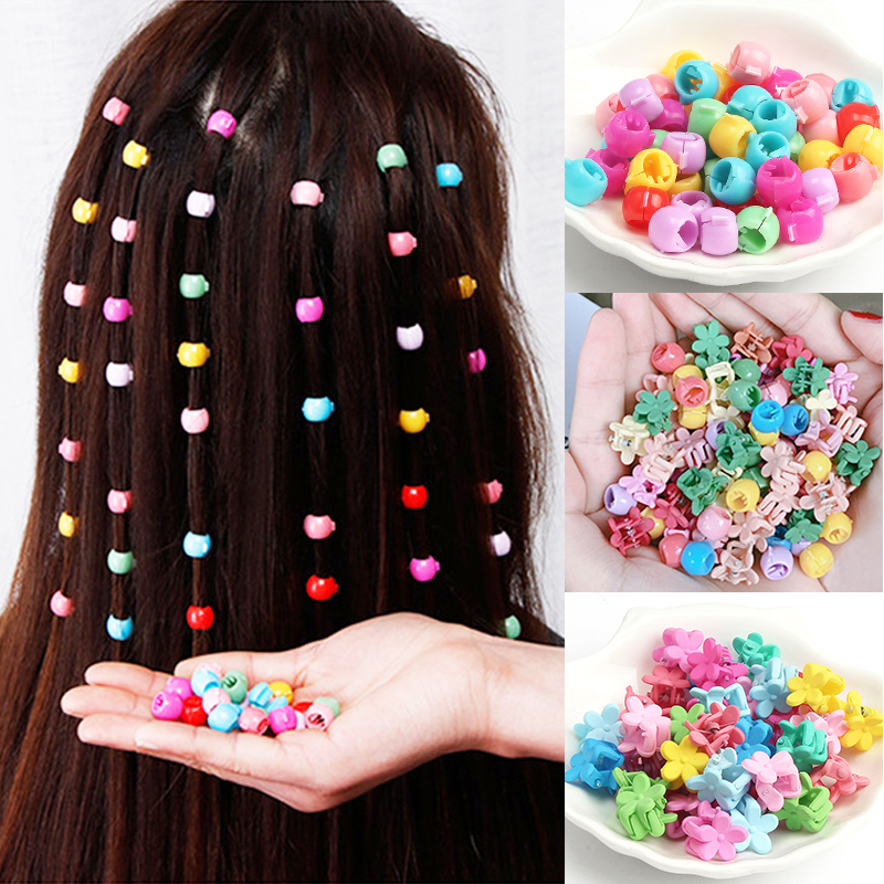 Mini Cute Candy Color Small Hair Clips Flower Doudou Plastic Hairpins Girls Ponytail Fashion Simple Hair Accessories Headwear