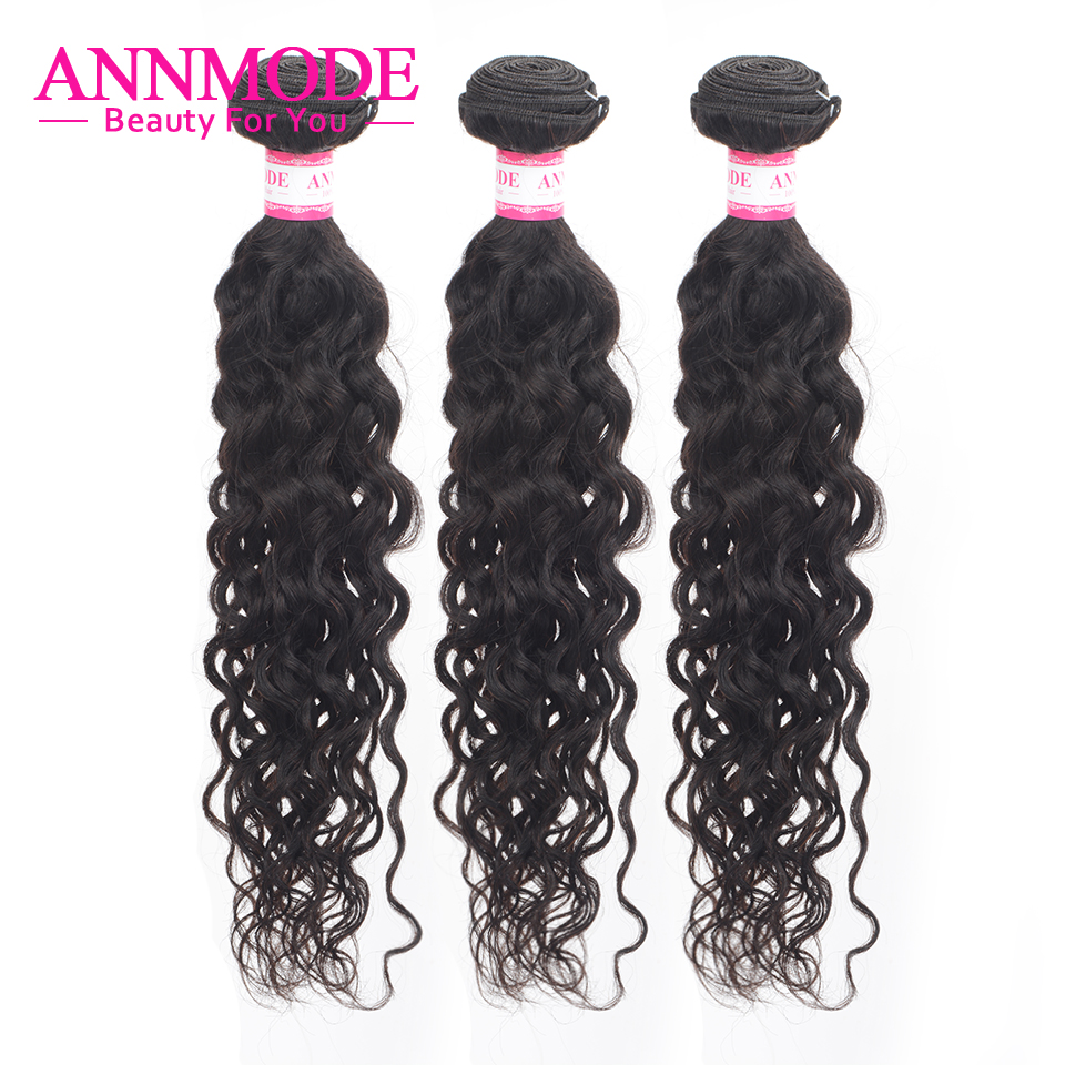 3/4 Bundles Brazilian Water Wave Hair Weave Natural Color 100% Human Hair Extensions 8 28inch Non Remy Hair Bundles Annmode|Hair Weaves| |  - title=
