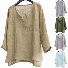 Винтажная хлопковая льняная рубашка, 8 цветов, мужские повседневные топы с длинным рукавом, Camisa, v-образный вырез, стиль бохо, мужские рубашки...