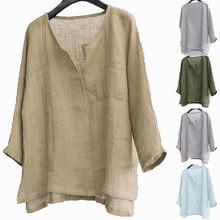 Chemise Vintage en coton et lin pour hommes, hauts couleurs, manches longues, surdimensionné, col en V, Style Boho