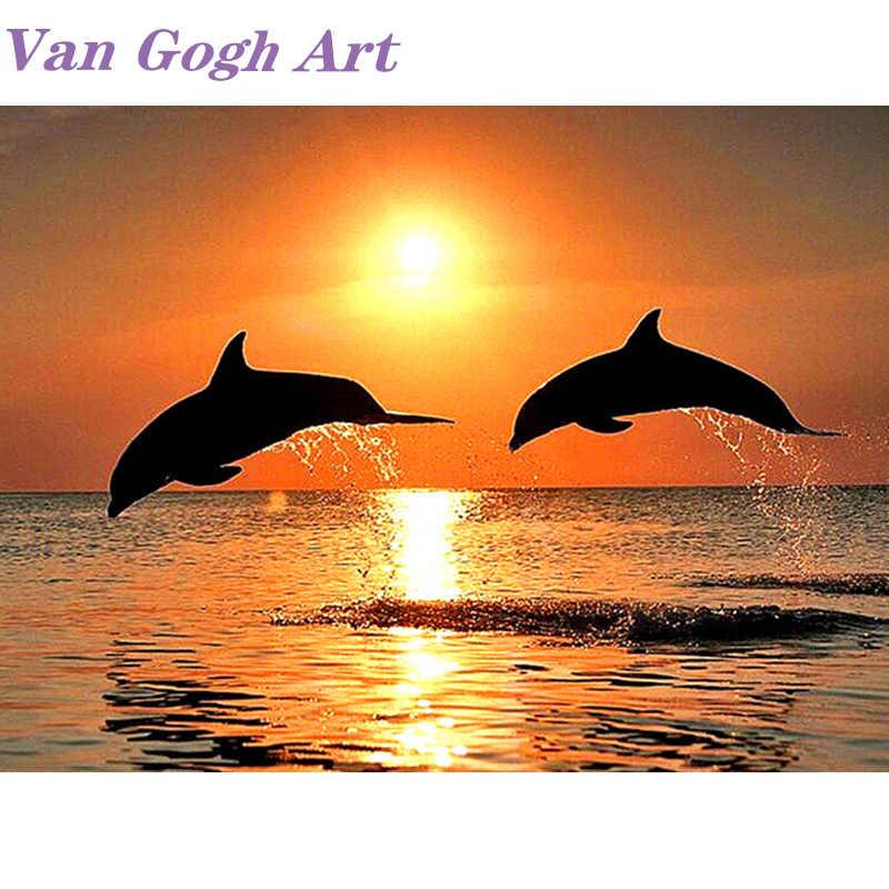 Daimond Diy 5D diamentowe malowanie zmierzch delfin pełne wiertło kwadratowe okrągłe do mozaiki haft noworoczny prezent dekoracja Diamant malowanie