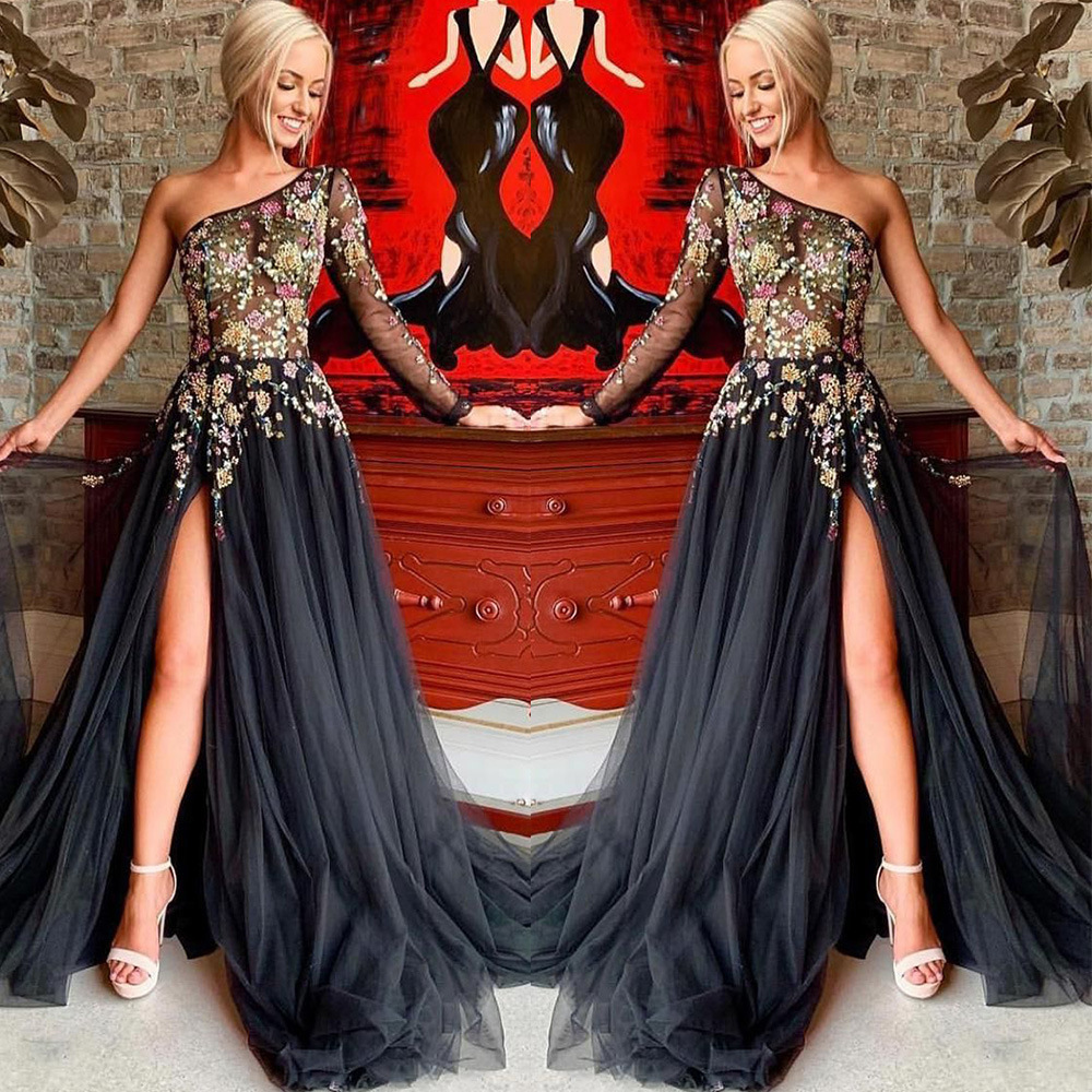 BGW Sexy One Shoulder Long Sleeve Sweep Floor Embroidery Evening Dress Illusion Tulle Long Prom Dress Vestidos De Fiesta