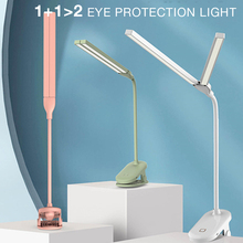 Lámpara de escritorio de protección ocular con carga Usb para dormitorio de estudiantes, Clip Led, doble soporte para lámpara, luz de mesa plegable para el hogar