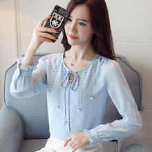 Women Casual Long Sleeved Chiffon Blouse Bow Beaded Lady Slim Tops 2019 Autumn New Tie Blouses Shirts Womens 819E7