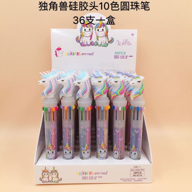 Lovely Unicorn Power 10 Colors Chunky Ballpoint Pen School Office Supply Gift Stationery Papelaria Escolar 1