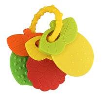 Высокое качество ребенок прорезывание зубов погремушка кольцо игрушки пищевой мягкий силикон фрукты кольцо прорезыватели для младенцев