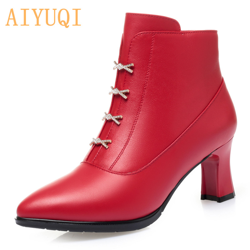 AIYUQI Sexy High Heel Boots Women 2021 New Genuine Leather Shiny Red Women's Dress Boots Winter Ankle Boots For Women
