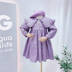 Purper для маленьких девочек костюм принцессы с воротником в стиле «Питер Пэн», платья для девочек с цветочным рисунком, с длинным рукавом Детс...
