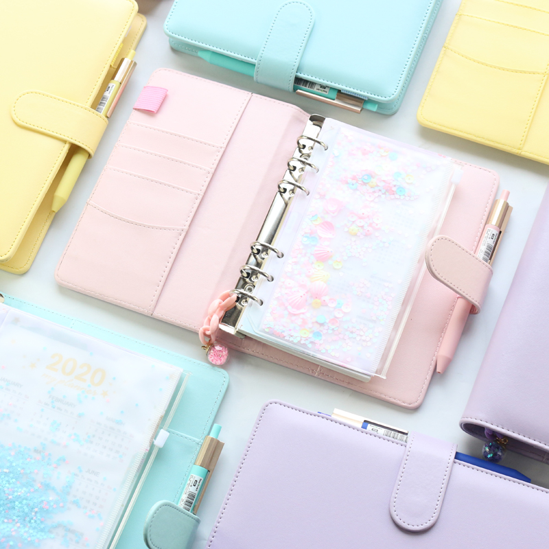 2020 New Macaron Office School Spiral Notebooks Stationery,cute Personal Binder Weekly Planner Agenda Organizer,rose Gold,A5A6