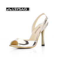 Fashion Women Shoes Open Toe Summer Luxury Light Gold Leather Women High Heel Shoes Buckle Strap Women Pump Shoes,Size 43