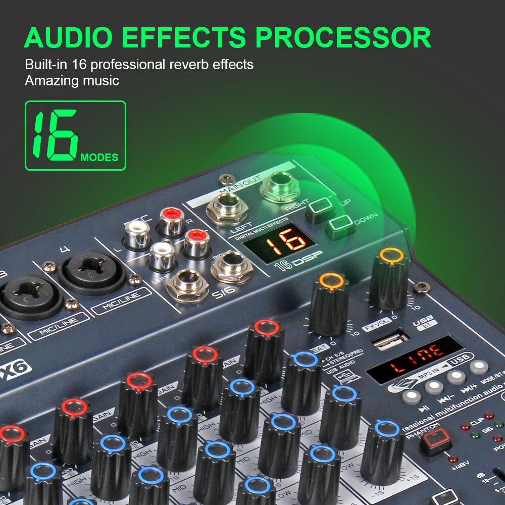 Console de mixage audio numérique portable professionnel X4/6 canaux avec carte son à effet DSP, bluetooth, USB, pour enregistrement DJ PC - 4