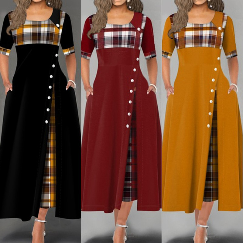 Elegant Women Summer Autumn Maxi Dress 2020 New O Neck Short Sleeve