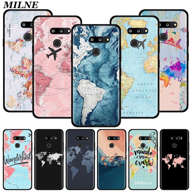 World Map Travel Silicone Phone Case For LG K40 K40s K41s K50s K51s K61 G6 G7 G8 Q51 Q60 Q61 Q70 Shell Cover Couqe Fundas Capa