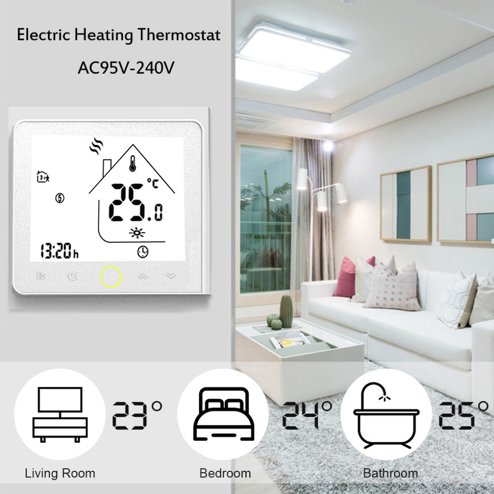 MODBUS Communication Thermostat Programmable Electric Floor Heating Temperature Controller NTC Sensor Touch Screen Wall Mounted