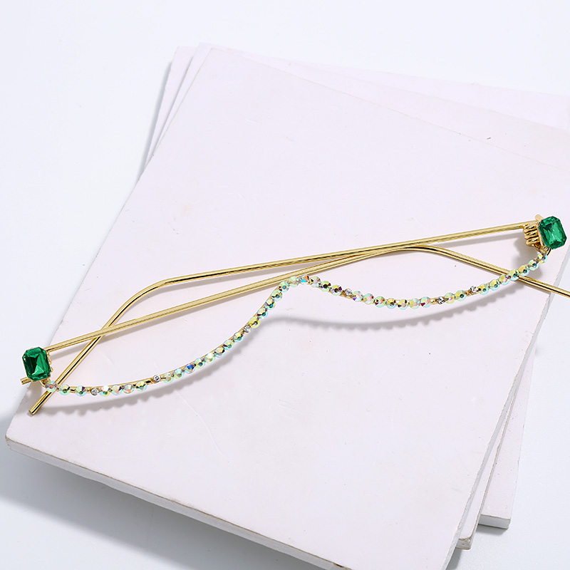 Montura de gafas con diamantes a la moda para mujer, gafas con media montura de cristal de lujo en rojo, verde y rosa, gafas con diamantes de imitación