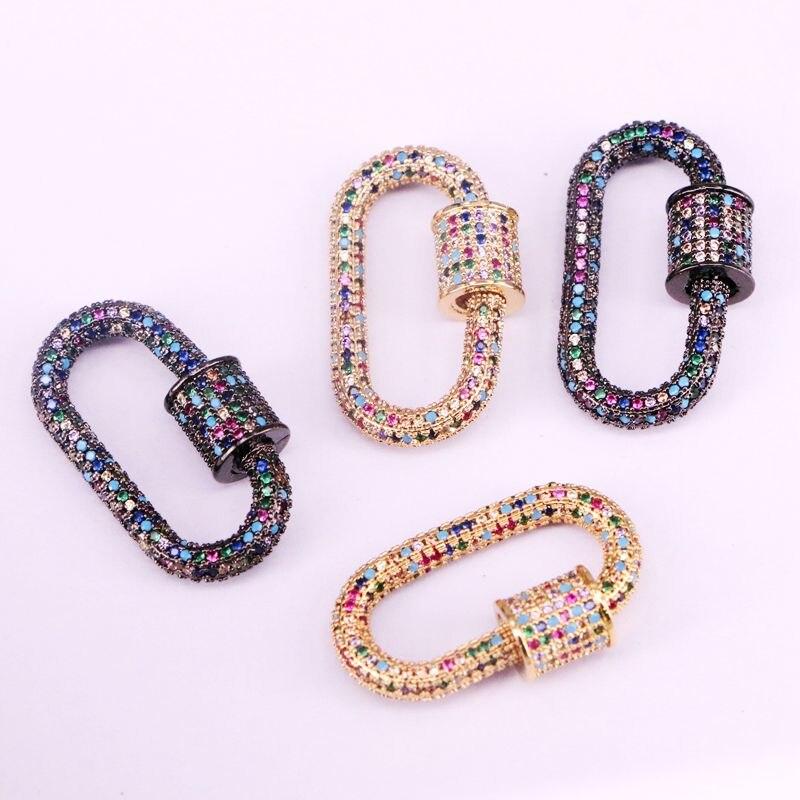 3 шт., Радуга CZ микро проложить Кристалл циркония овальная застежка, винтовые металлические застежки, ожерелье соединитель застежки