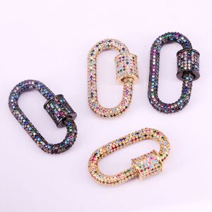 Image 3 - 3PCS, Rainbow CZ Micro Pave Crystal Zirconia Oval Clasp, Screw Metal Clasps, Necklace Connector Clasps