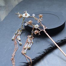 Lotus Flower Hair Sticks Double Tassels Hairpins Wedding Accessories Vintage Women Elegant Crystal Hairpin