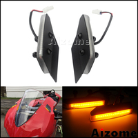 Motorcyle Aluminum Amber Light Blinkers For Ducati 959 1299 Panigale LED Mirror Block Off Turn Signals