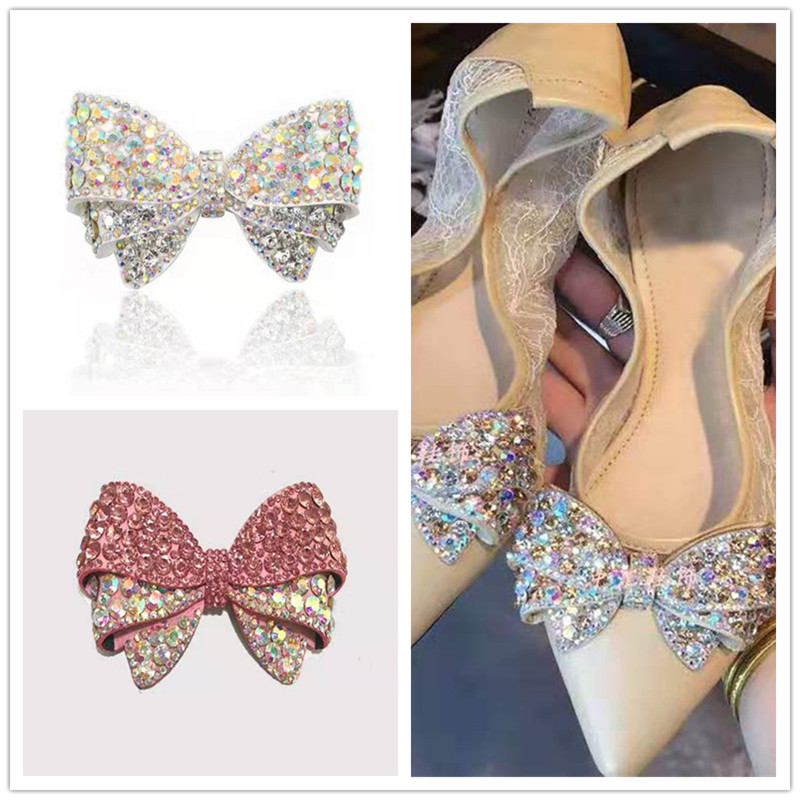 1pc Luxury Jewelry Bowknot Bow Crystal Bridal Wedding Party High Heels Shoes DIY Manual Rhinestone Shoe Decorations Shoe Flower