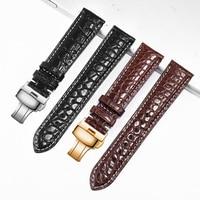 12 14 16 18 20 24 mm Hohe Qualität doppelseitige alligator lederband schwarz braun armband Ersatz band Für männer und frauen