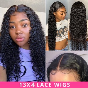 Image 1 - Deep Curly Lace Front Wig Human Hair Wigs For Black Women Deep Wave wig 150% Density Wet And Wavy Water Wave Lace Front Wig