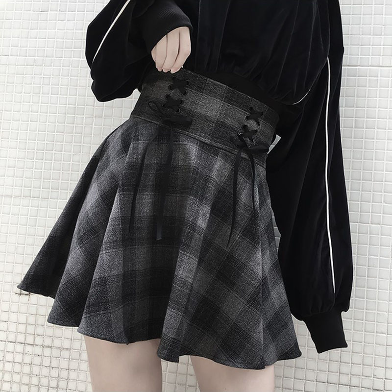 Gothic Plaid Skirts Women Bow Sashes Mini Skirts Big Swing Short Skirts Korean High Waist Elegant Harajuku Spring Sexy Club V679