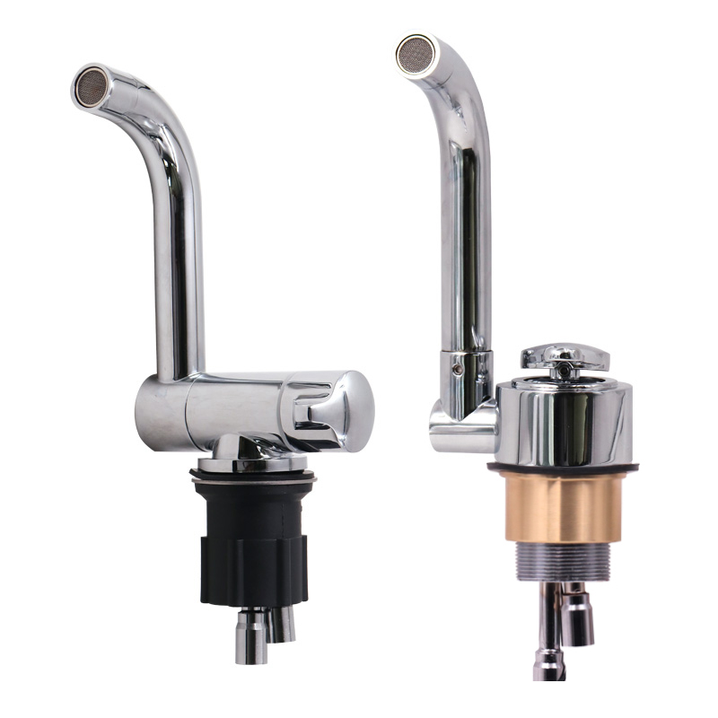 Faucet Of RV Water System Electrically Controlled RV Fittings With Double Water Control Faucets Folding Electric Faucets