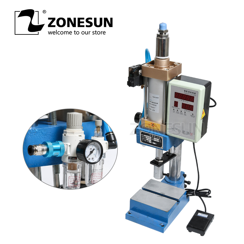 ZONESUN Automatic Pneumatic Punching Printing Press Machine Logo Letter Stamps Print Cutting Die Emboss Press Force Adjustable
