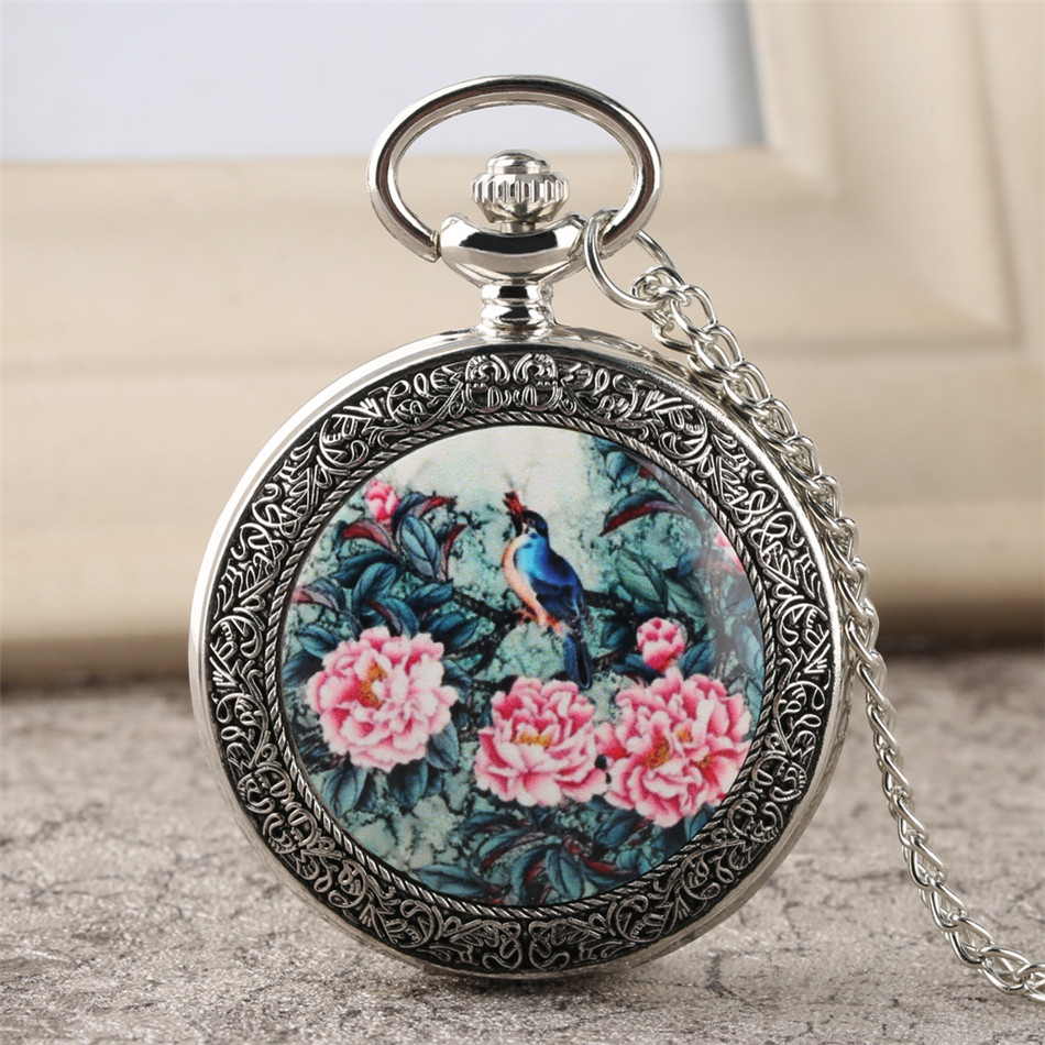 Vintage Chinese Style Birds Flowers Design Silver Necklace Pocket Watch Exquisite Pendant Clock Unisex Gifts Dropshipping
