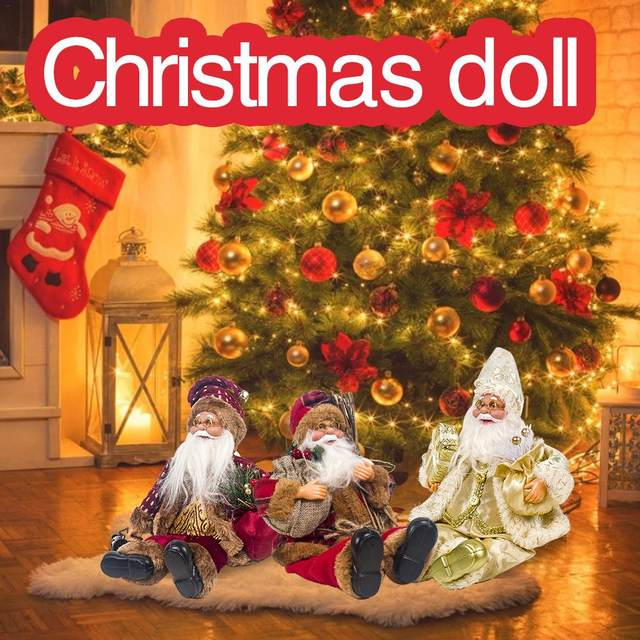 2019 Xmas New-Year Santa Claus Sitting Christmas Big Doll Fabric Kid Toys Gift Christmas Decorations For Home Table Ornament 13